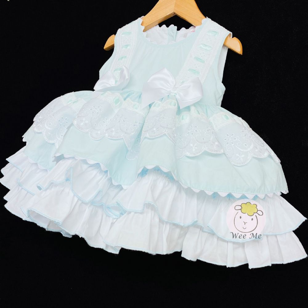 * Stunning Baby Girl Spanish Mint Puff Ball Summer Dress